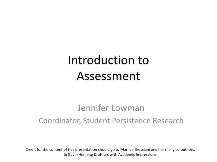 introduction to assessment n.