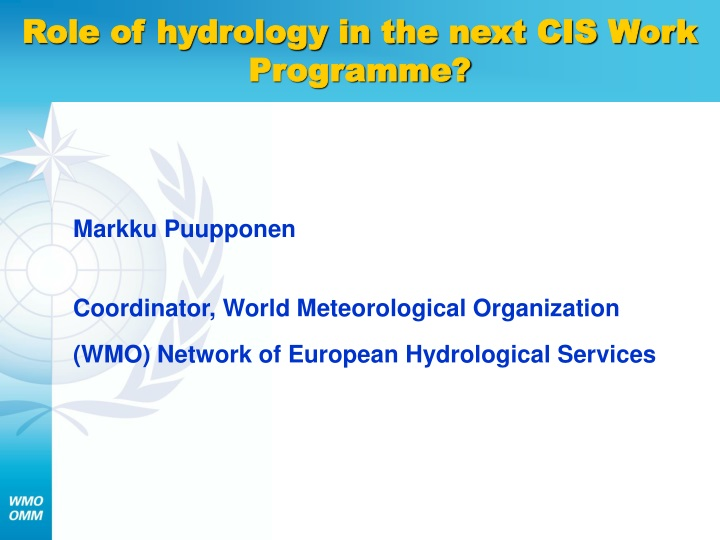 role of hydrology in the next cis work programme n.