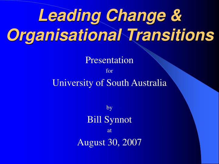 leading change organisational transitions n.