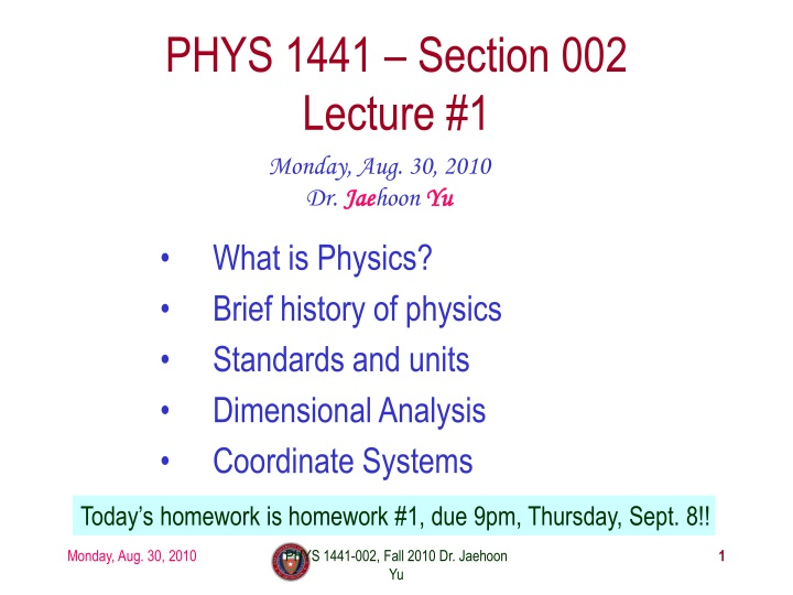 phys 1441 section 002 lecture 1 n.