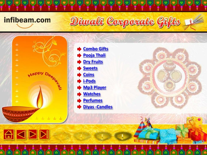 combo gifts pooja thali dry fruits sweets coins i pods mp3 player watches perfumes diyas candles n.