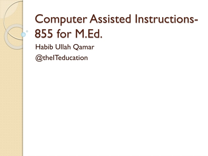 computer assisted instructions 855 for m ed n.