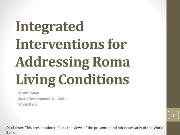 integrated interventions for addressing roma living conditions n.