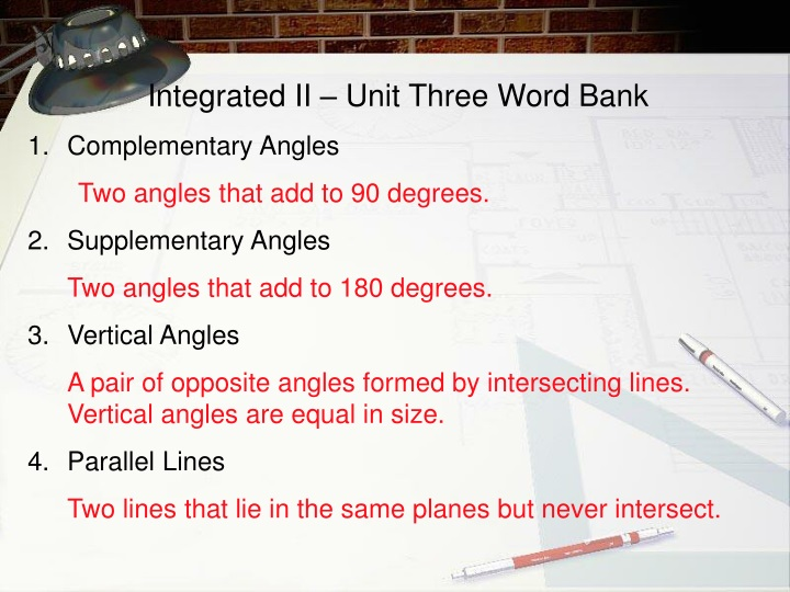 integrated ii unit three word bank complementary n.