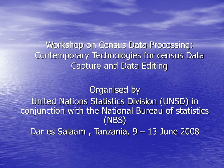 workshop on census data processing contemporary n.