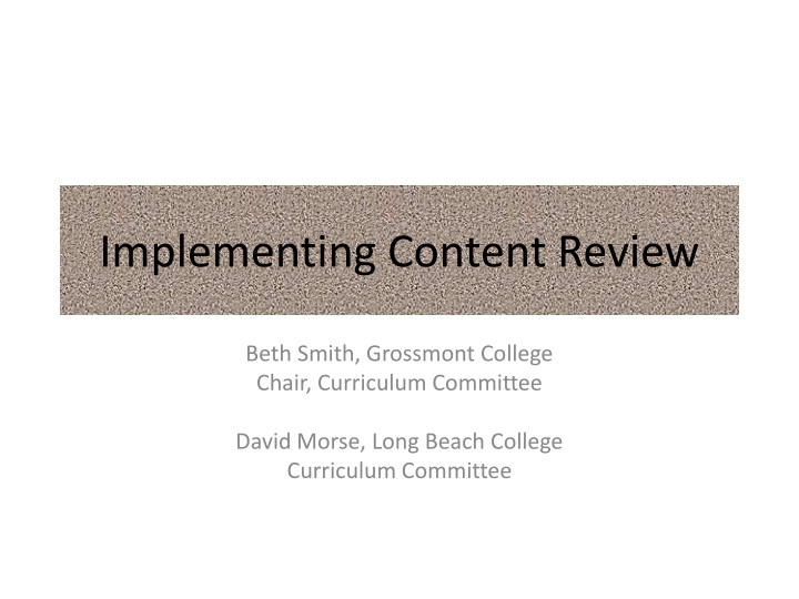 implementing content review n.