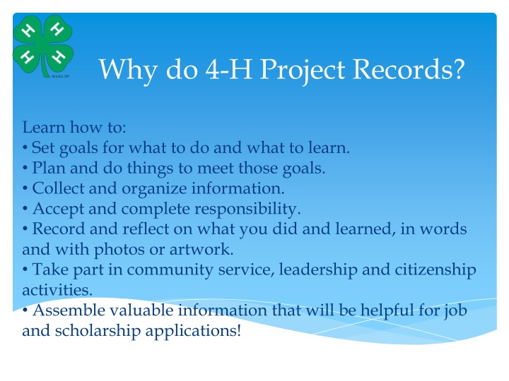 why do 4 h project records n.