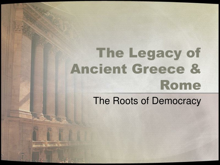 the legacy of ancient greece rome n.