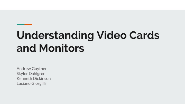 understanding video cards and monitors n.
