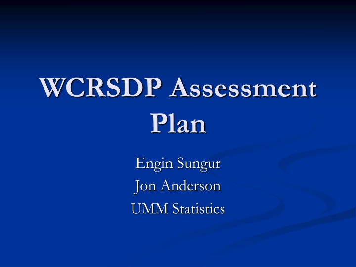 wcrsdp assessment plan n.