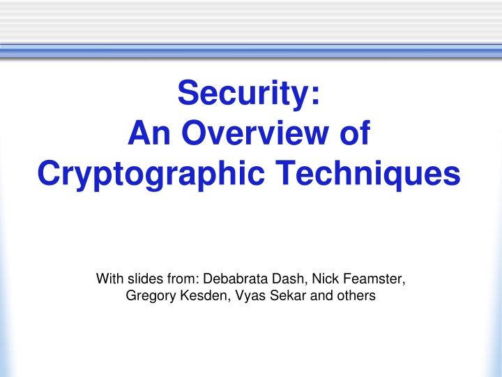 security an overview of cryptographic techniques n.