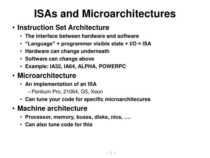 isas and microarchitectures n.