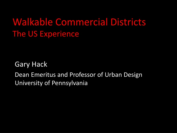 walkable commercial districts the us experience n.