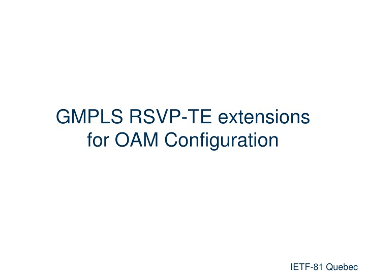 gmpls rsvp te extensions for oam configuration n.