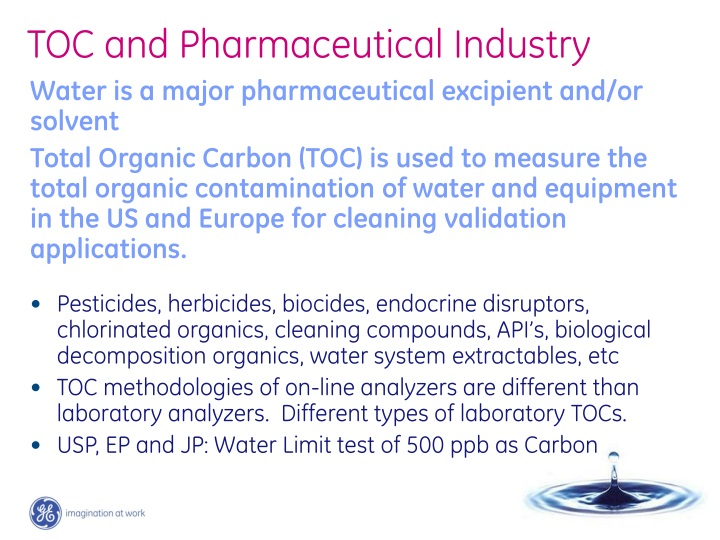 toc and pharmaceutical industry n.