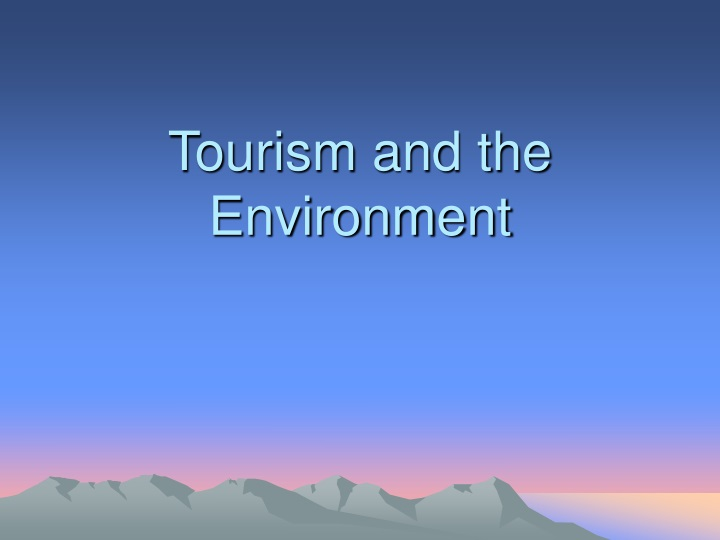 tourism and the environment n.