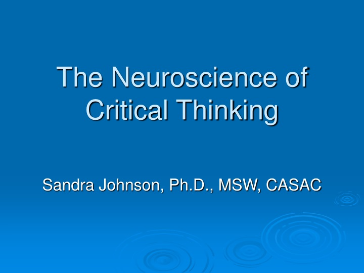 the neuroscience of critical thinking n.