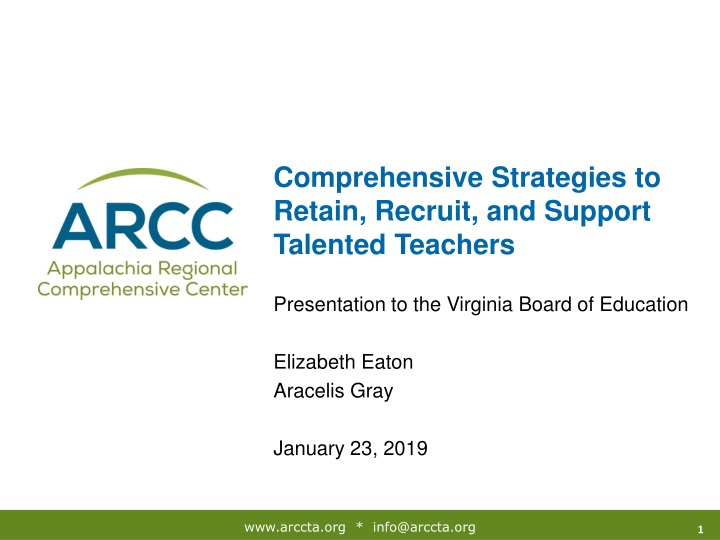 comprehensive strategies to retain recruit and support talented teachers n.