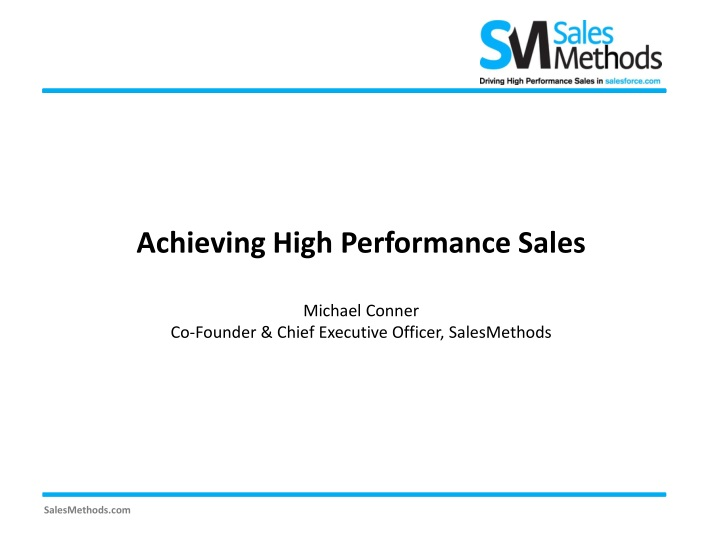 achieving high performance sales michael conner n.