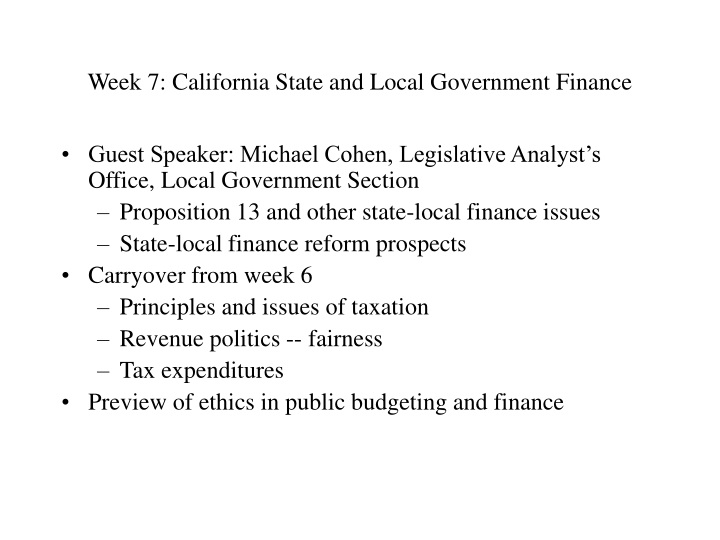 week 7 california state and local government finance n.