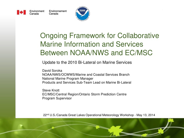 ongoing framework for collaborative marine information and services between noaa nws and ec msc n.