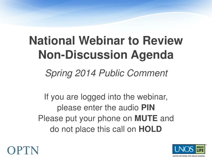national webinar to review non discussion agenda n.