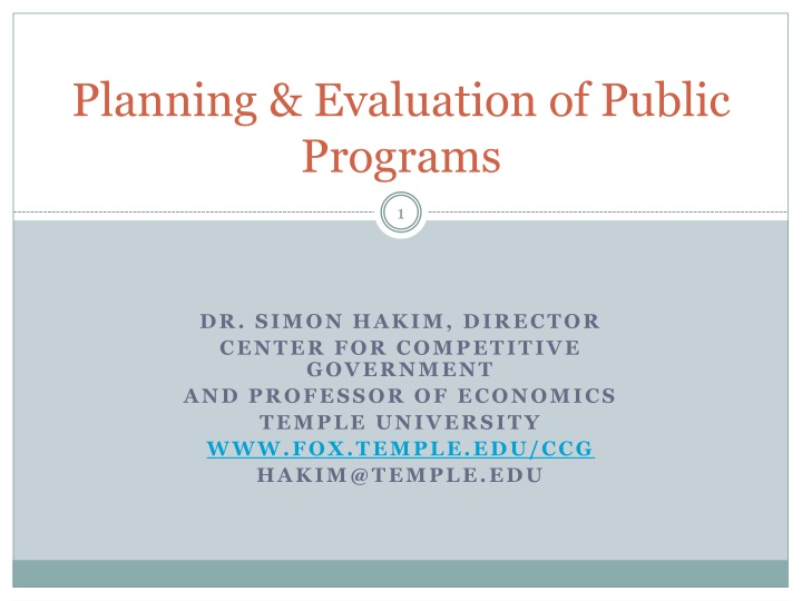 planning evaluation of public programs n.