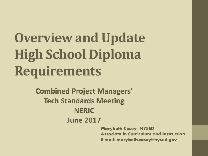 overview and update high school diploma requirements n.