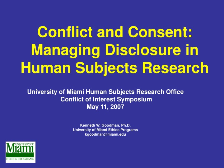 conflict and consent managing disclosure in human subjects research n.