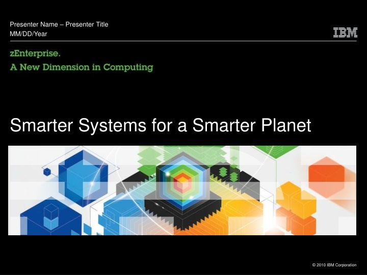 smarter systems for a smarter planet n.
