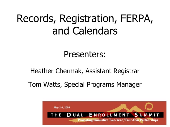 records registration ferpa and calendars n.