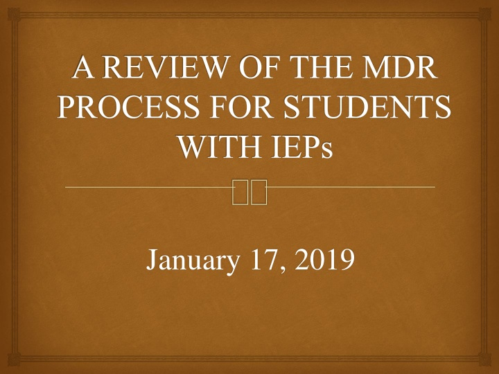 a review of the mdr process for students with ieps n.