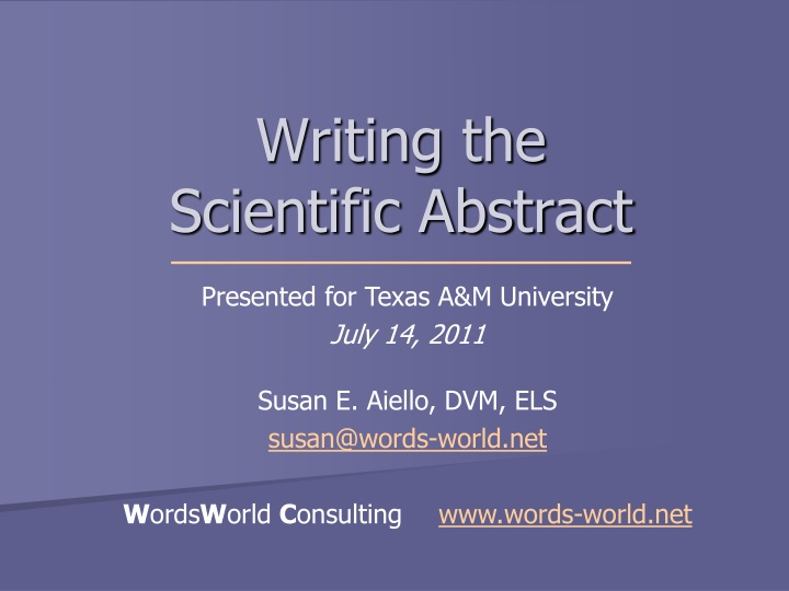 writing the scientific abstract n.