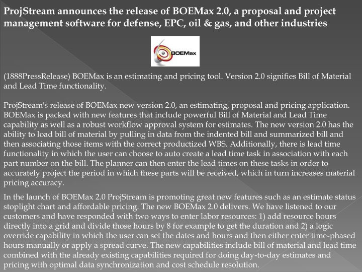 projstream announces the release of boemax n.