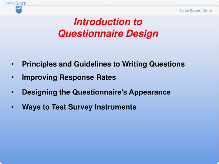 introduction to questionnaire design n.