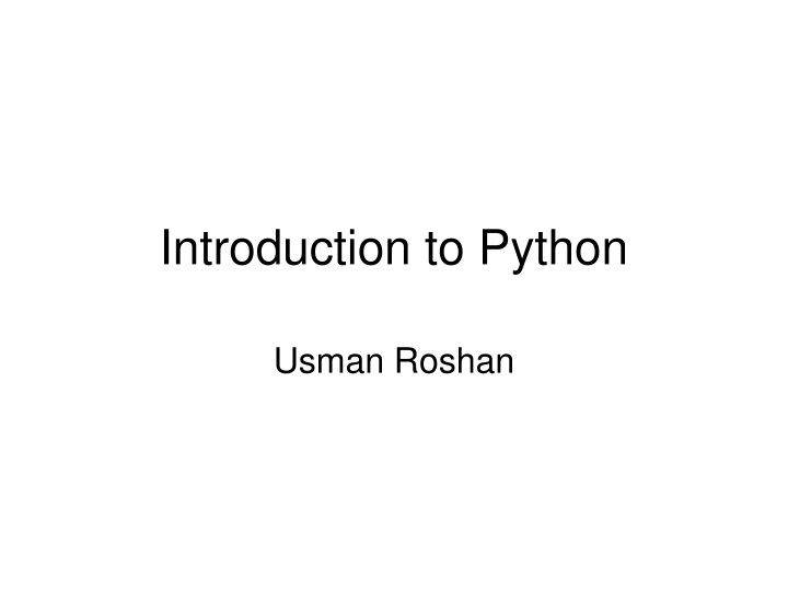 introduction to python n.