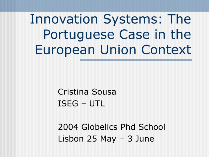 innovation systems the portuguese case in the european union context n.