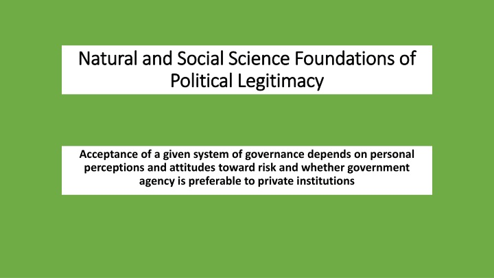 natural and social science foundations of political legitimacy n.