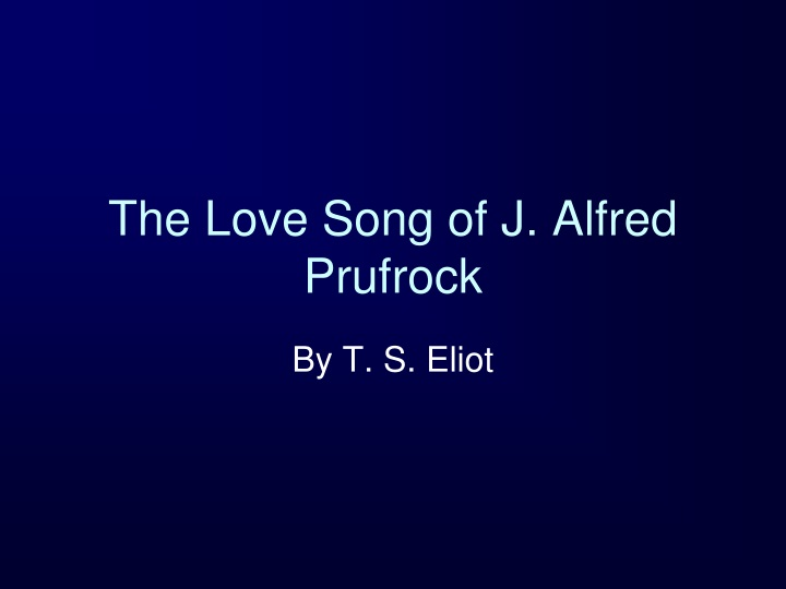 the love song of j alfred prufrock n.