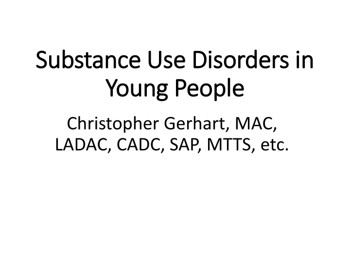 substance use disorders in young people n.