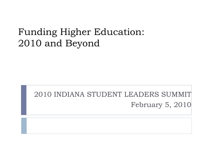 funding higher education 2010 and beyond n.