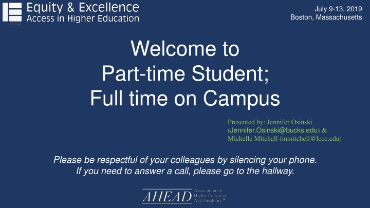 welcome to part time student full time on campus n.