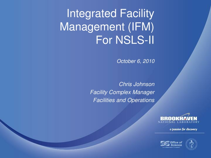integrated facility management ifm for nsls ii n.