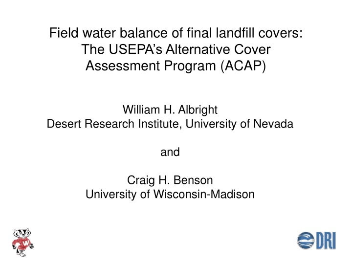 field water balance of final landfill covers the usepa s alternative cover assessment program acap n.