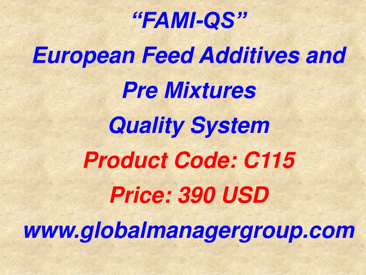fami qs european feed additives and pre mixtures n.