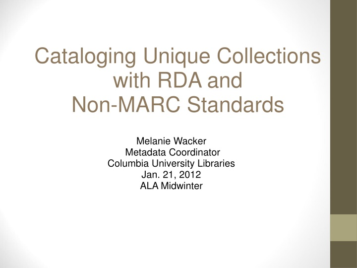 cataloging unique collections with n.