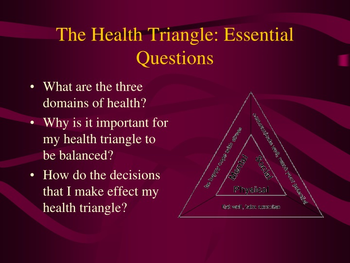the health triangle essential questions n.
