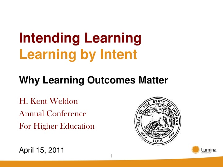 intending learning learning by intent why learning outcomes matter n.