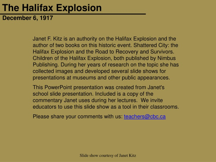 janet f kitz is an authority on the halifax n.