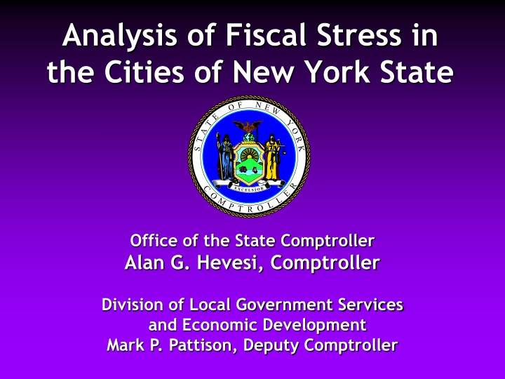 analysis of fiscal stress in the cities of new york state n.